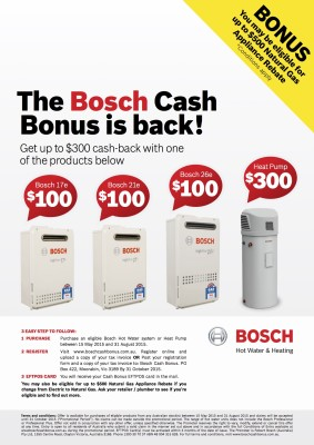 Bosch hot water system cash back offer