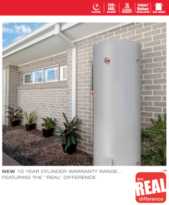 Rheem electric hot water system outside home in Sydney